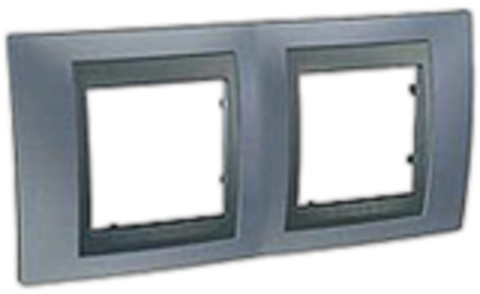 Рамка на 2 поста. Цвет Грэй-графит. Schneider electric Unica Top. MGU66.004.297