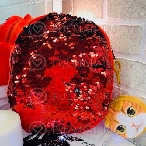 Рюкзачок Детский плюшевый красный с пайетками меняет цвет Красный-Чёрный и брелок-ключница Пёся