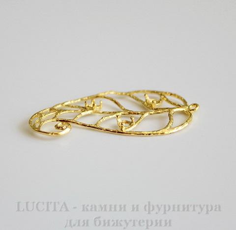 """Подвеска """"Лист ажурный"""" (цвет - золото) 35х20 мм"""