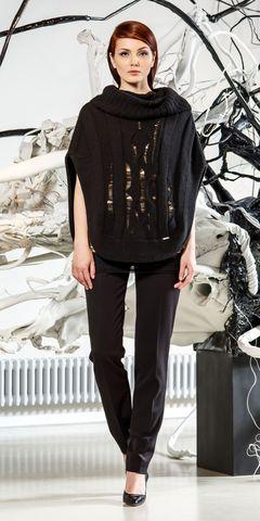 Фото черный джемпер-накидка с объемным воротником и вертикальными полосками - Джемпер В809-028 (1)