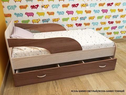 Кровать Максимка ясень темный / ясень светлый