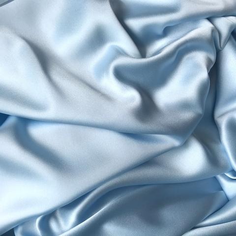 Шелк    атласный с эластаном голубой 1107