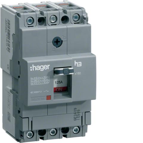 Автоматический выключатель, x160, TM рег.уст.терм., 3P 40кА 125-80A, 440В АС