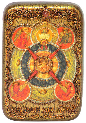 Икона Всевидящее Око Божие 15х10см на натуральном дереве, инкрустированная, в подарочной коробке