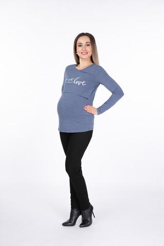 Лонгслив для беременных и кормящих 11089 синий