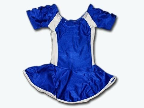 Купальник гимнастический модельный с юбкой. Состав: полиэстер. Размер М. Цвет: сине-белый. :(2008):