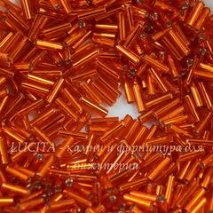 97000 Бисер Preciosa стеклярус #3, оранжевый с серебряным центром