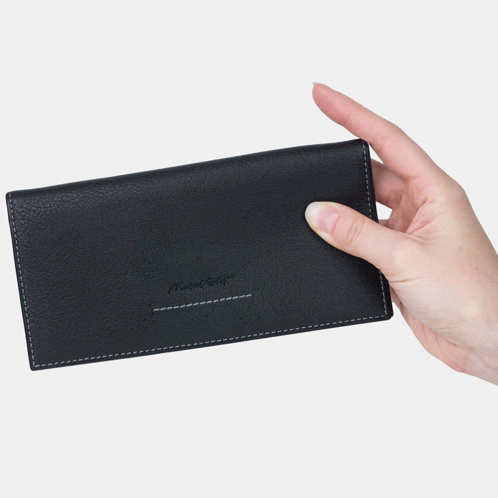 Длинный кошелек Lingot Easy из натуральной кожи теленка, черного цвета