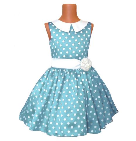 Платье голубое в горох с воротником