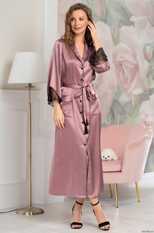 Шелковый халат на пуговицах MIA-Amore OLIVIA ОЛИВИЯ 3649 античная роза