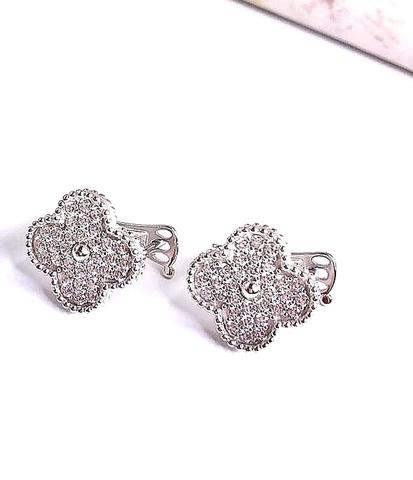 66124- Серьги Trendy из серебра с цирконами 1 мотив