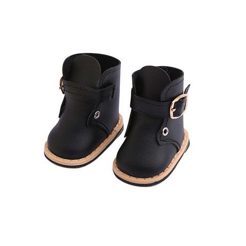 Взуття для ляльки. Черевики з ремінцем із штучної шкіри - чорні