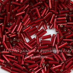 97090 Бисер Preciosa стеклярус #3, темно-красный с серебряным центром