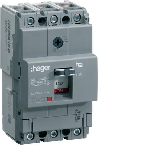 Автоматический выключатель, x160, TM рег.уст.терм., 3P 40кА 160-100A, 440В АС