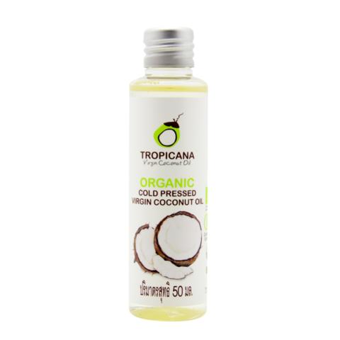 Масло кокосовое натуральное нерафинированное 100% холодного отжима Тропикана (Tropicana Oil), 50 мл