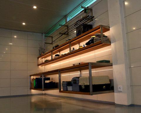 Steel shelf with wood GARAGE with lights