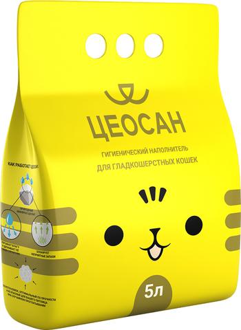 Наполнитель для кошачьего туалета впитывающий, для гладкошерстных кошек, 5 л Цеосан