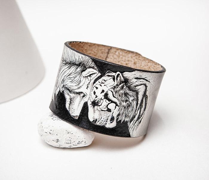 BL814 Браслет ручной работы с волком и тигром, тиснение