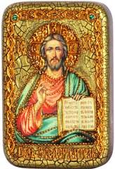 Инкрустированная Икона Господь Вседержитель 15х10см на натуральном дереве, в подарочной коробке