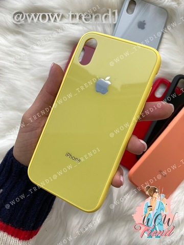 Чехол iPhone X/XS Glass Pastel color Logo /yellow/