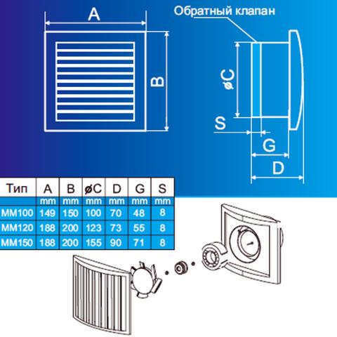 Накладной вентилятор MMotors JSC МM-120 Белый Квадратный
