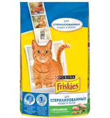 Purina Friskies сухой корм для стерилизованных кошек и котов с кроликом 1,5кг