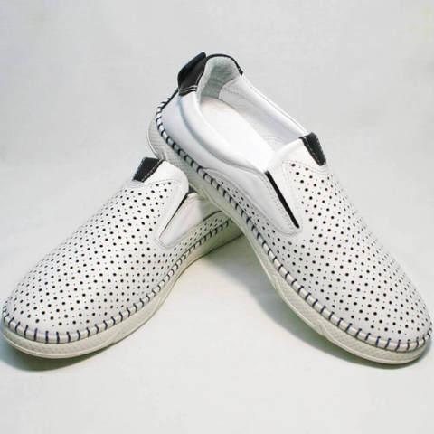 Смарт кэжуал белые туфли слипоны.  Мужские летние туфли с перфорацией Ridge-WB.