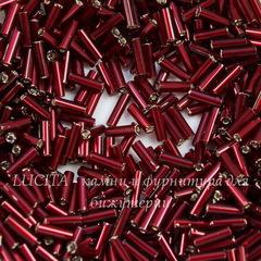 97120 Бисер Preciosa стеклярус #3, темно-бордовый с серебряным центром