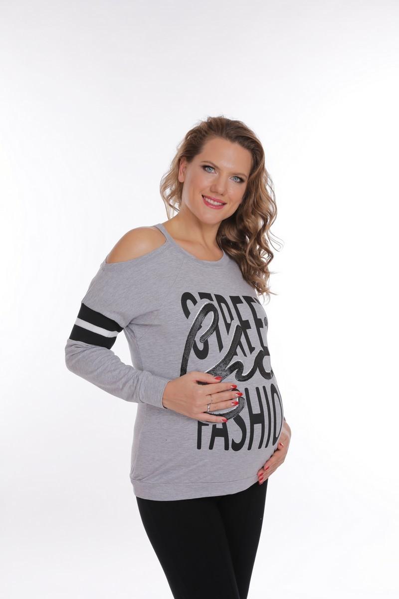 Свитшот для беременных 09161 серый меланж
