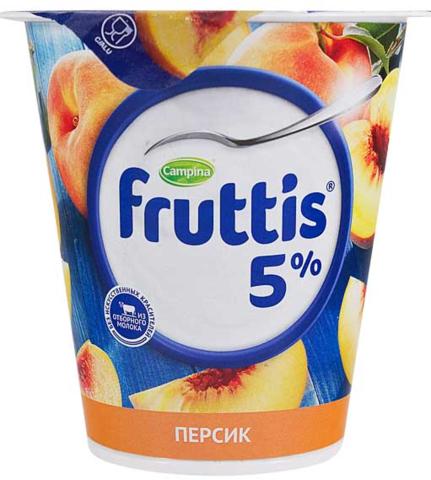 """Йогуртный продукт Fruttis """"Сливочное лакомство"""" персик 5%, 290 г"""