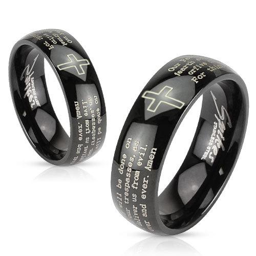 Кольца чёрные с молитвой мужские и женские SPIKES R-M2767