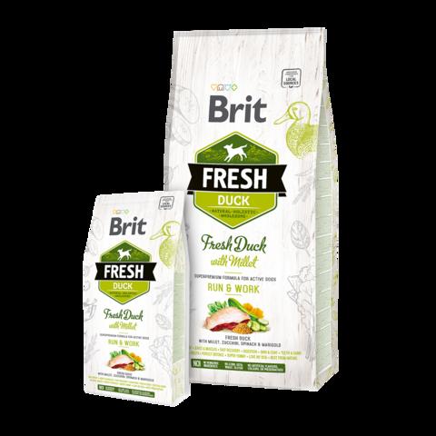 Brit Fresh Duck & Millet Active Run & Work Сухой корм для активных собак Утка с Пшеном