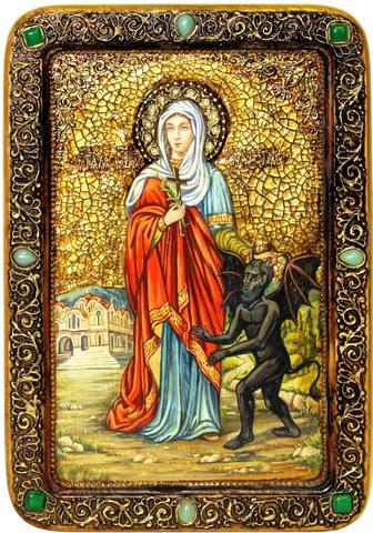 Инкрустированная живописная икона Святая великомученица Марина (Маргарита) Антиохийская 42х29см на натуральном кипарисе в подарочной коробке