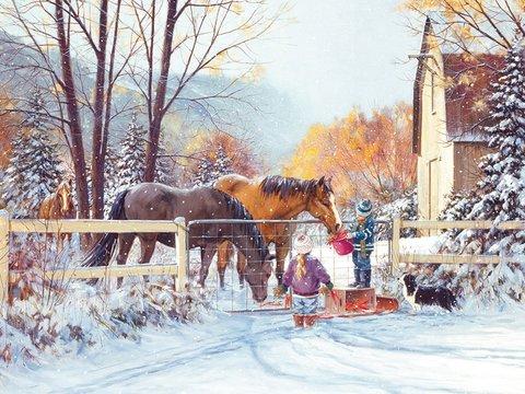 Алмазная Мозаика 40x50 Лошади и дети у забора