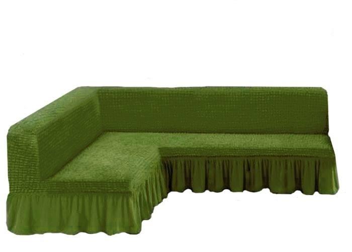Чехол на угловой диван без подлокотников, изумруд