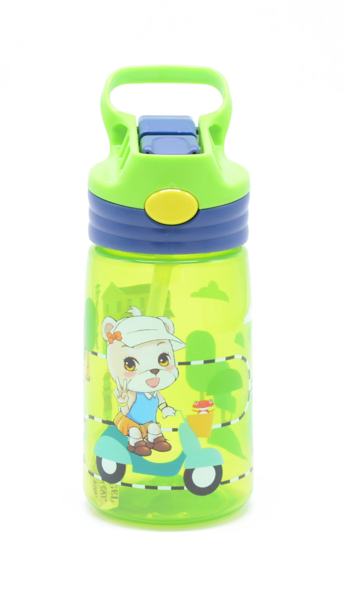 Детская бутылка для воды с выкидной трубочкой 450 мл. зеленая