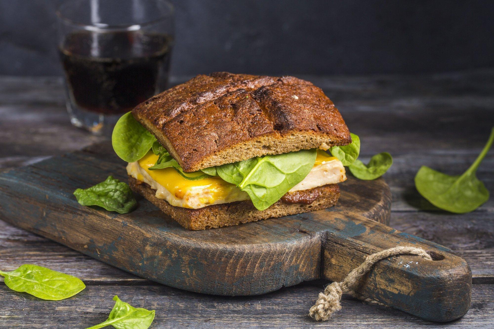 Сэндвич на бородинских тостах