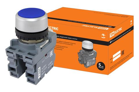Кнопка MP1-20L в сборе d22мм 1з+1р синяя TDM