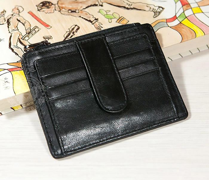 WL259-1 Тонкий мужской кошелек из кожи с отделением на молнии
