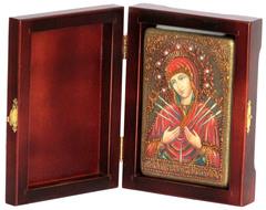 Инкрустированная Икона Божией Матери Умягчение злых сердец 15х10см на натуральном дереве, в подарочной коробке