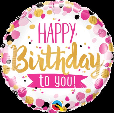 Воздушный шар круг Розово-Золотой Happy Birthday to you, 45 см