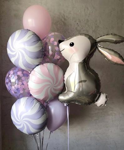 Фонтан из воздушных шаров Нежный Зайка