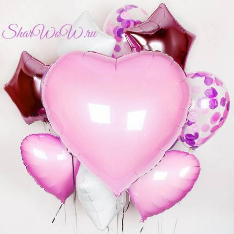 Розовый сет воздушных шаров