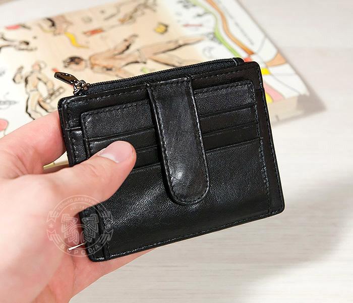 WL259-1 Тонкий мужской кошелек из кожи с отделением на молнии фото 05