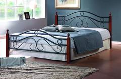 Кровать АТ-803 200x160 (Queen) Черный/Красный дуб