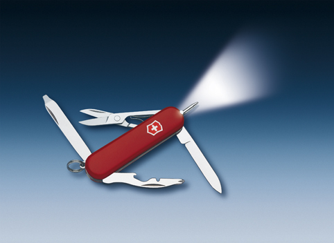 Нож-брелок Victorinox Classic Midnite Manager, 58 мм, 10 функций, красный