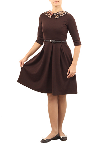 1190 Платье женское, коричневое