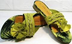 Красивые сандалии шлепки на лето женские Marco Tozzi 2-27104-20 Green.