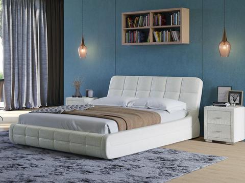 Кровать двуспальная Corso 6 Экокожа-Caman Croco
