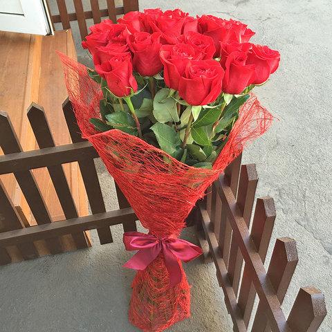 Букет из 25 красных роз 100 см